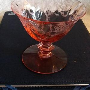 Stemmed etched depression glass dessert dish